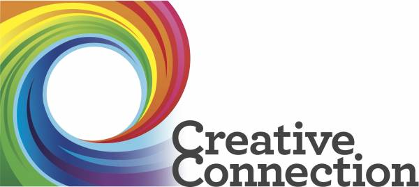 Creative Connections Logo. A rainbow swirl.